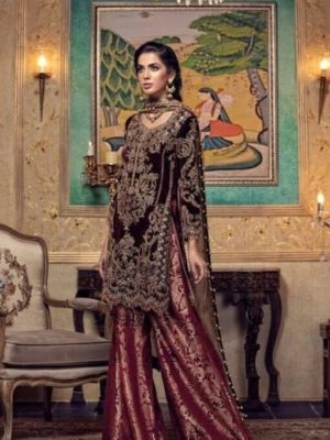 Maria B Latest Embroidered Winter Linen Collection Replica 2018