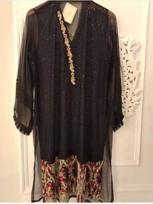 Agha noor Luxury Embroidered Chiffon Shirt Replica 2019