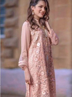 Agha Noor Luxury Embroidered Organza Kurti Collection Replica