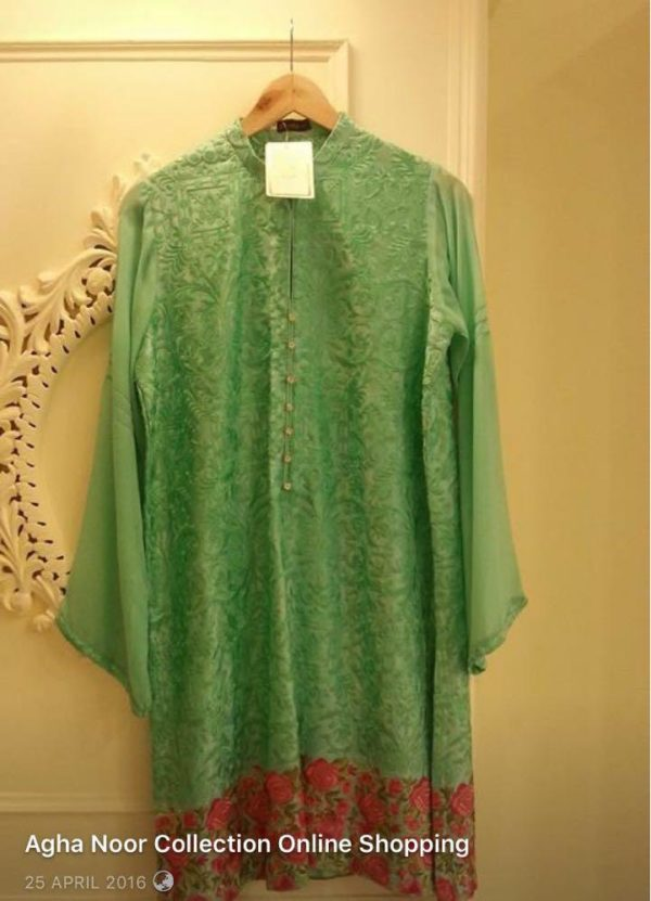 Agha noor Luxury Embroidered Bamber Chiffon Shirt Replica