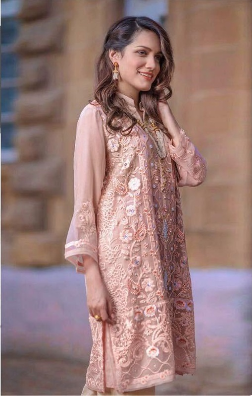 4adfee6698 Agha Noor Luxury Embroidered Organza Kurti Collection Replica