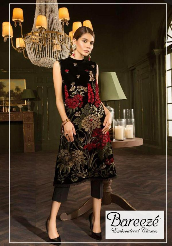 Bareeza Luxury Embroidered Winter Velvet Collection Replica 2019