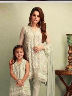 Maria B Luxury Embroidered Kids Linen Collection Replica