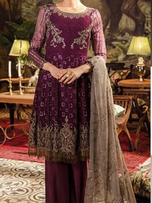 Iznik Luxury (Plum Sand) Embroidered Chiffon Collection Replica