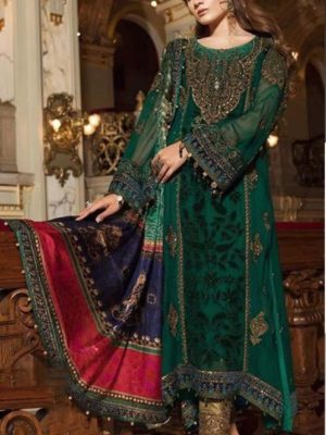 Maria B.Luxury Emerald Green & Teal (BD-1501) Embroidered Chiffon Collection Replica
