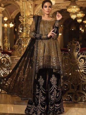 Maria B. Luxury Oxidized Gold & Black (BD-1508) Embroidered Maysuri Collection Replica