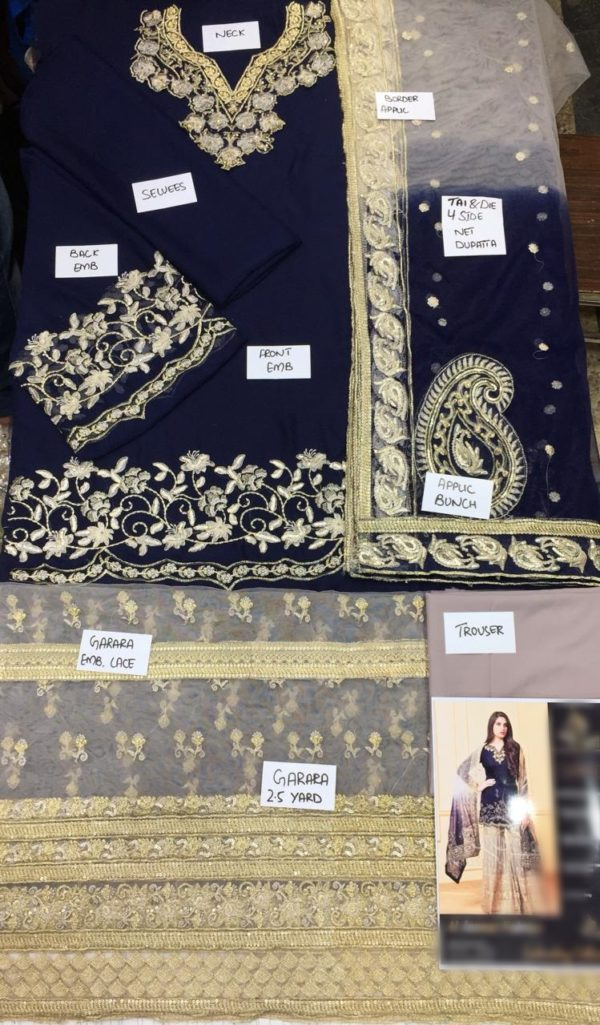 Designer Luxury Embroidered Chiffon Collection Replica 2019