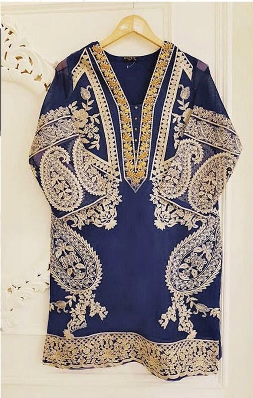 Agha noor Luxury Embroidered Shirt Cotton Net Collection Replica
