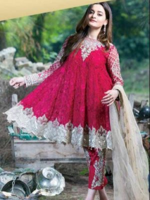 Imrozia Luxury Scarlet Dame Embroidered Bamber Chiffon Master Replica