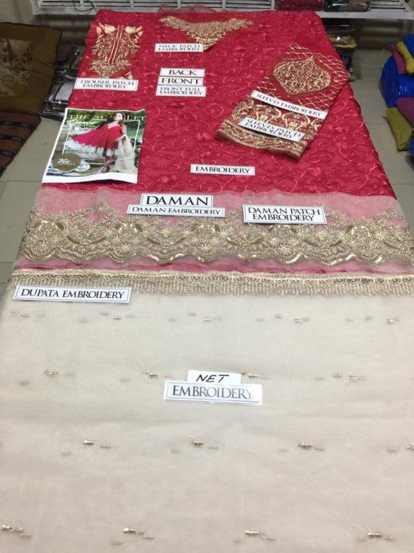 Imrozia Luxury Scarlet Dame Embroidered Bamber Chiffon Master Replica