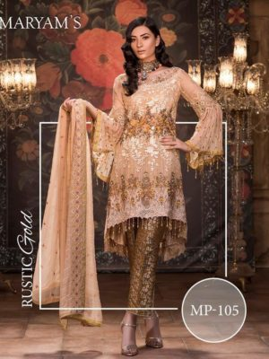 Maryam's Luxury Rustic Gold Embroidered Bamber Chiffon Replica