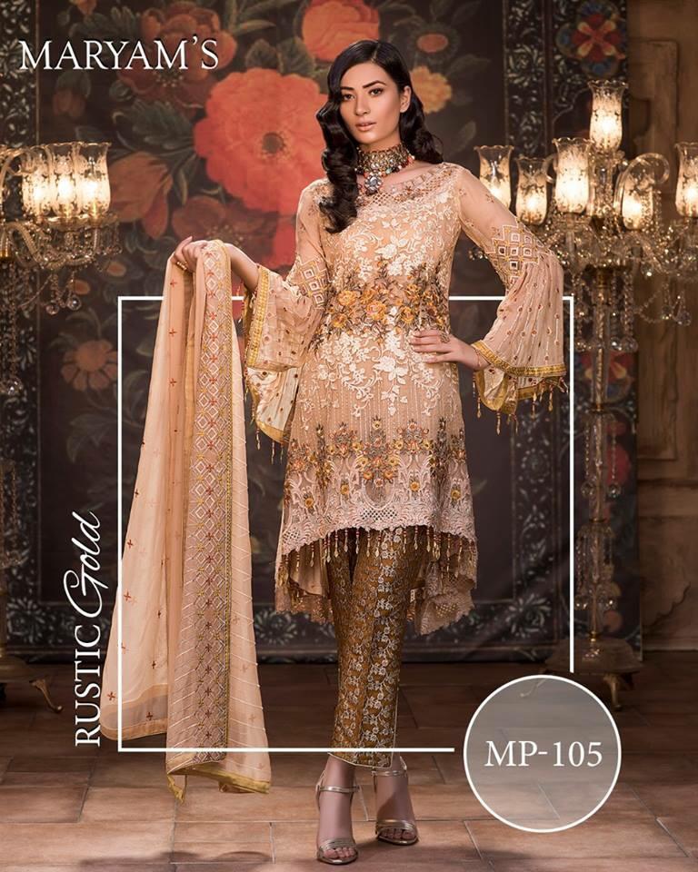 19adbd3b90 Maryam's Luxury Rustic Gold Embroidered Bamber Chiffon Replica