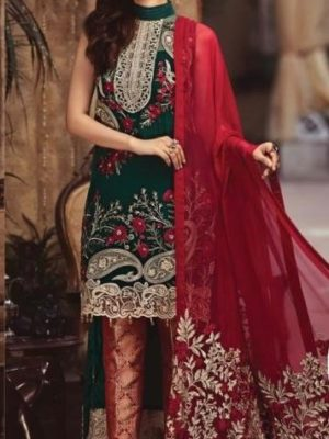 Serene Luxury Fiery emerald Bamber Chiffon 2pc Collection Replica