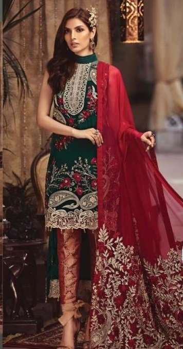 Serene Luxury Fiery emerald Bamber Chiffon 2pc Collection Replica