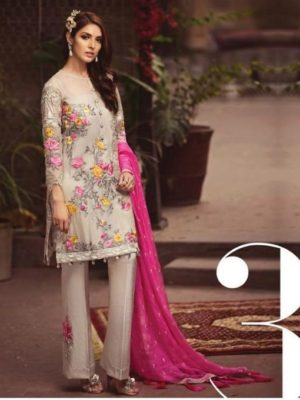 Serene Pink lesnuits Embroidered Bamber Chiffon Master Replica
