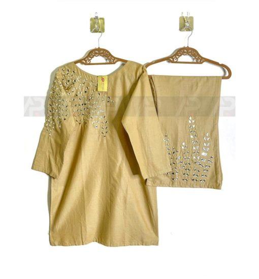 Beige Mirror work Pakistani Suits