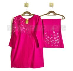 Pink Mirror work Cotton Suit