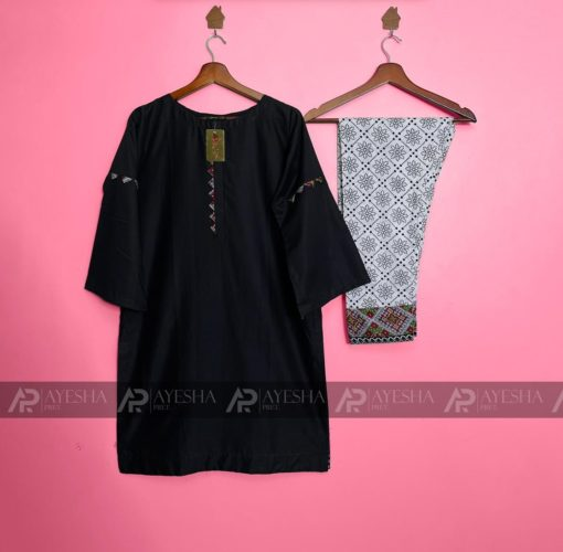 Stitched Black Lawn Suits