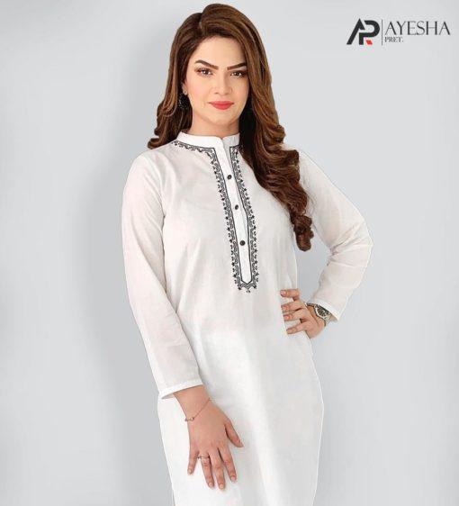 Designer White and Black Stitched Suit