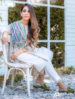 Designer White Embroidered Stitched Dress
