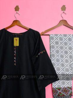 Printed Black Lawn Suit