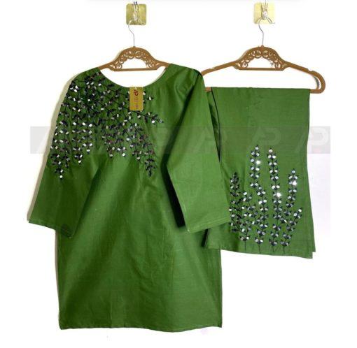 Green Mirror work Dress