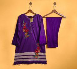 Designer Floral Embroidered Stitched Dress