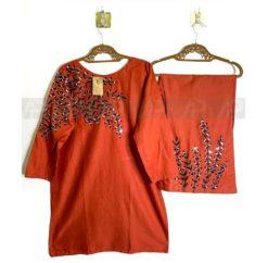 Orange Mirror work Cotton Dress