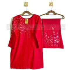 Red Mirror work Party Wear